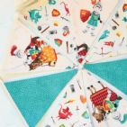 Knights and Dragons Mini Cotton Bunting (Price inc P&P) with 14 Flags